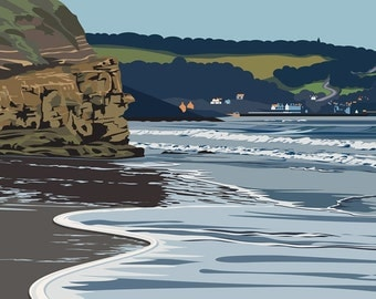 A3 LTD EDITION PRINT. Uk Whitby Beach Minimal contemporary archival art print, inspired modernist design - By Ian Mitchell