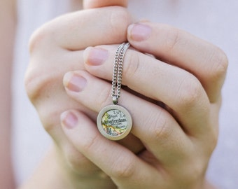 Your Town. Pendant with vintage map. Personalized. Choose 1 town.