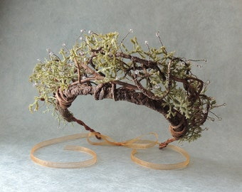 Woodland Hair Wreath, Bohemian Tiara Vine Crown, Rustic Bridal Crown, Ethereal Vine Wreath Crown, Wedding Hair Accessories, Boho Moss Crown