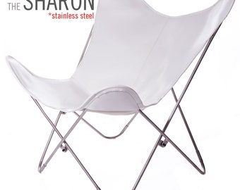100% Handcrafted Original Butterfly Vaqueta Leather Chair with Stainless Steel Frame, from Argentina (Big BKF)