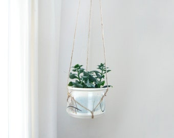 Hanging Planter | Vintage Jute Macrame Plant Hanger and Beige, Blue and Green Ceramic Pot Holder For Air Plant and Small Succulent