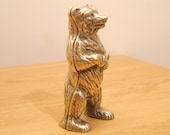 Bear Brass Savings Bank  Piggy Bank  Coin change statuette