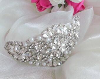 Vintage hollywood glamour wedding side tiara, bridal side tiara, bridal side tiara, vintage side tiara, bridal tiara, rhinestone side tiara