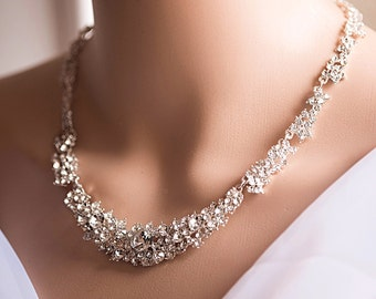 Free Earrings! Sparkly Cubic Zirconia Crystal Bridal Wedding Necklace!, Statement Wedding Necklace, free earrings with necklace!