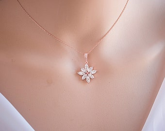 Rose Gold/Silver Flower Sparkly Cubic Zirconia Crystal  Wedding Necklace, Statement Wedding Necklace
