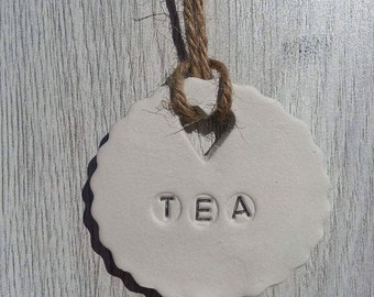 An individual clay TEA jar tag, earl greay, green, kitchen, gift, unique, home decor.