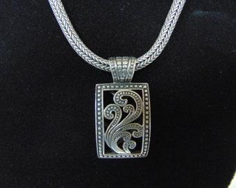 Heavy Vintage Estate Sterling Silver .925 Womens Necklace w/ Pendant 51.7g  #E2170