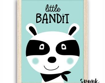Little Racoon Bandit Print Nursery Kids Baby Playroom
