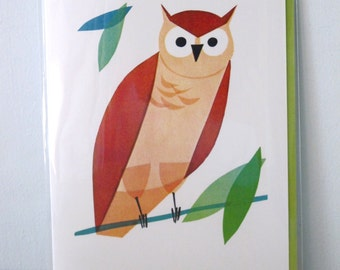writeables Vintage Style Owl Greeting Card