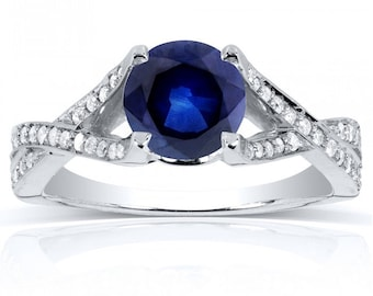 Round Sapphire and Diamond Pave Crossover Ring 1 1/4 in 14k White Gold