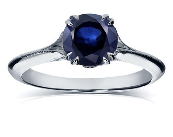 Vintage Blue Sapphire Engagement Ring with Diamond Accents 1 1/10 CTW in 14k White Gold