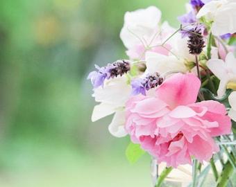 Instant Digital Download Fine Art Flower Photography - Pretty Bouquet of Summer Flowers - Sweet Peas, Lavender, Rose