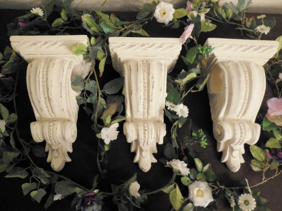 Antique white drapery holders curtain rod hanging wall - Shabby chic curtain poles ...