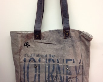 Awesome recycled canvas Bag with Leather trim!!!!!