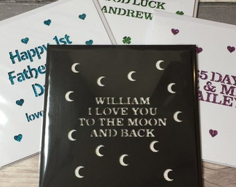 I love you to the moon and back glitter papercut card