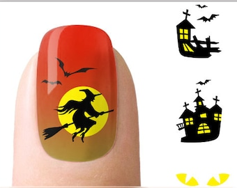 Halloween Nail Art Witch Nail Water Decals Transfers Wraps