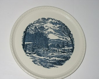"Fluted Hostess Cake Plate 10 1/2"" Currier and Ives Royal China"
