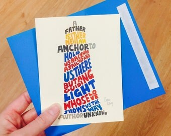 Father's Day Hand Lettered Lighthouse Card