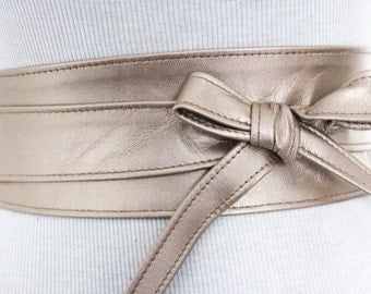 Light Gold Leather Obi Belt | Waist Corset Belt | Bridesmaid Sash | Leather Gold Belt | Plus Size