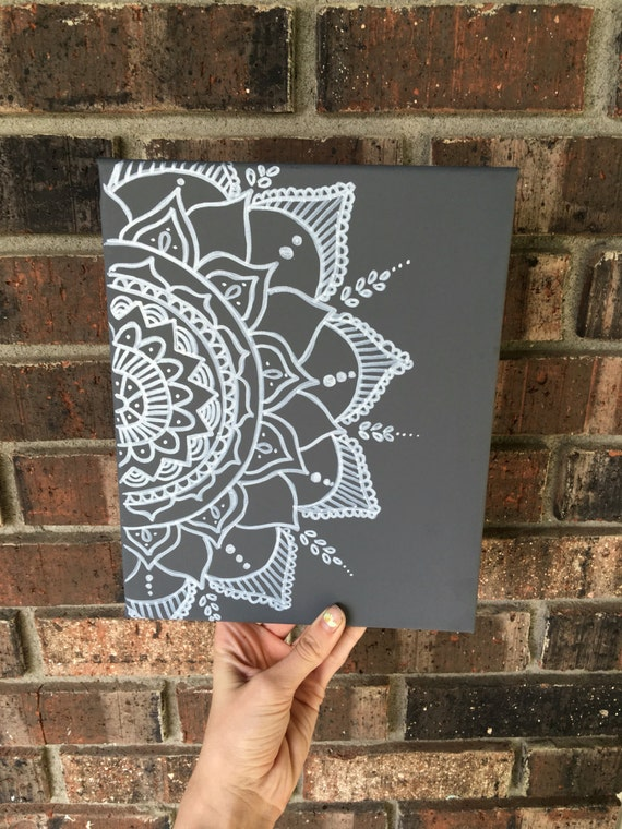 Dorm Room Wall Decor Etsy : Wall decor mandala canvas boho painting