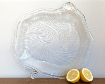 Large Vintage Glass Shell Serving Platter Seafood Serving Tray Coastal Beach Seaside Entertaining