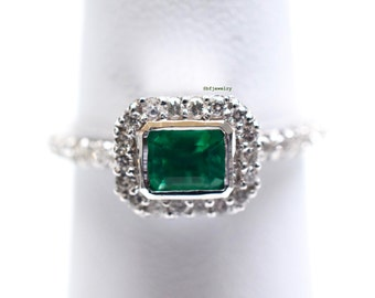 SALE! Horizontally Set Halo Style Emerald And Diamond Ring