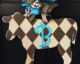 SHIPS NOW!!  Cow Door Hanger, Door Decoration, Country Decor, Shabby Chic, Cow/Cattle Farmer