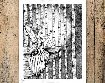HOPE Fairy Girl Adult Coloring Page, hope, light in the darkness, words, hand drawn, zen art, affirmation card, printable coloring therapy