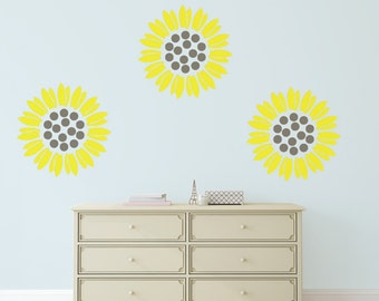 Sunflower  Wall Stencil, Wall Art Stencil  in reusable Mylar, wall art, small to large stencils up to 19.5 x 27.5 inches.