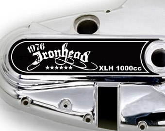 """New! Custom Die Cut Decorative Primary Clutch Cover Decal """"1976 XLH 1000"""" 1971 to 1976 Ironhead Sportster"""