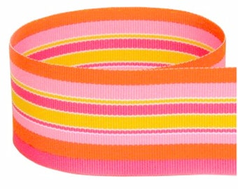 "5 yards 1.5"" Pink Orange Yellow Stripes Woven Grosgrain Ribbon"