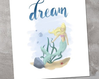 Mermaid Art Kid Wall: Dream, 8x10 inches, Handmade. Child Room Decor. Digital Illustration Handmade.