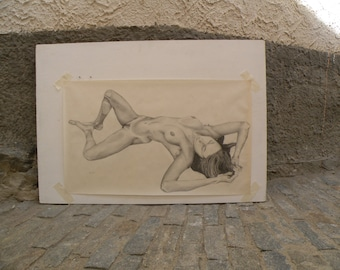 Pencil drawing on paper. Artistic female nude