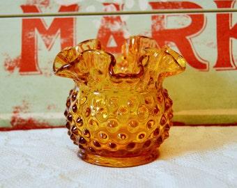 Fenton Amber Hobnail Ruffled Vase / Vintage Autumn Tabletop / DIY Glass Garden Flower 3854 CA 1969