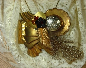 COLLAGe Brooch Pin & necklace  UPCYCLED Vintage Statement JEWELRY, Brass/copper BoHo Steampunk