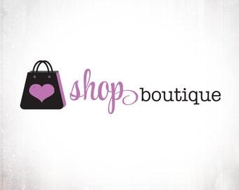 Premade Logo Design • Love Shopping Bag
