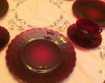 Ruby Red Glass Luncheon Set -