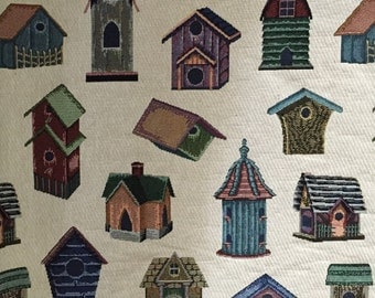 Bird Houses - Upholstery Fabric by the Yard