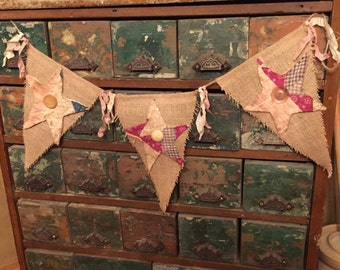 Burlap pennant garland with quilt stars and vintage buttons
