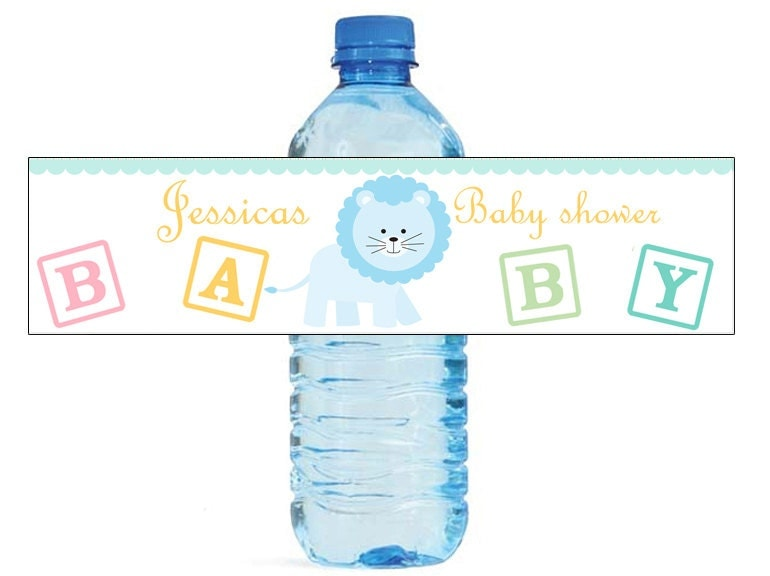 Baby Boy Lion Baby Shower Theme Water Bottle Labels