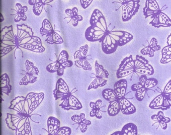 New Purple Butterflies Flannel fabric by the yard and half yard