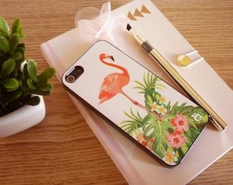 IPhone 5 / 5s / SE Hard Case Pink Flamingo Flowers