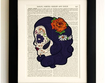 FRAMED ART PRINT on old antique book page - Sugar Skull Goth Girl, Vintage Upcycled Wall Art Print Encyclopaedia Dictionary, Fab Gift