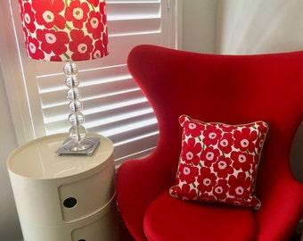 Marimekko lamp shade, marimekko fabric lampshade, marimekko unikko red lamp shade, pieni unikko, red flower lamp shade, unikko fabric