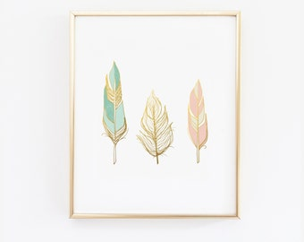 Feathers wall art print -  Faux Gold Foil Print -scandinavian modern- Blush Pink Mint and Gold - 5x7, 8x10, 11x14, 12x16,  home decor (1033)