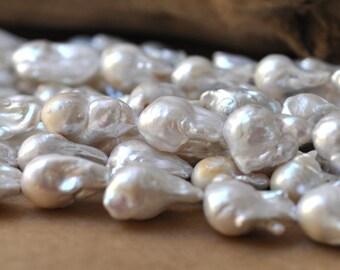 Large White Baroque Freshwater Pearl, White Keshi Nuclei Pearl 16-20MM