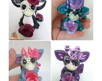 Polymer Clay Dragon | Day of the Dead | Dia De Los Muertos | Sugar Skull | Fantasy | MADE TO ORDER