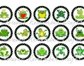 INSTANT DOWNLOAD Frog 1 Inch Bottle Cap Image Sheets *Digital Image* 4x6 Sheet With 15 Images