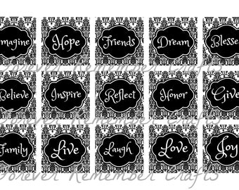 INSTANT DOWNLOAD Damask Inspirational Sayings  1 Inch Square Image Sheet *Digital Image* 4x6 Sheet With 15 Images