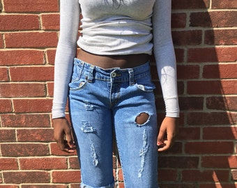 ALL sizes custom Levi HIGH waist rise distressed cut off women capri denim shorts tumblr indie